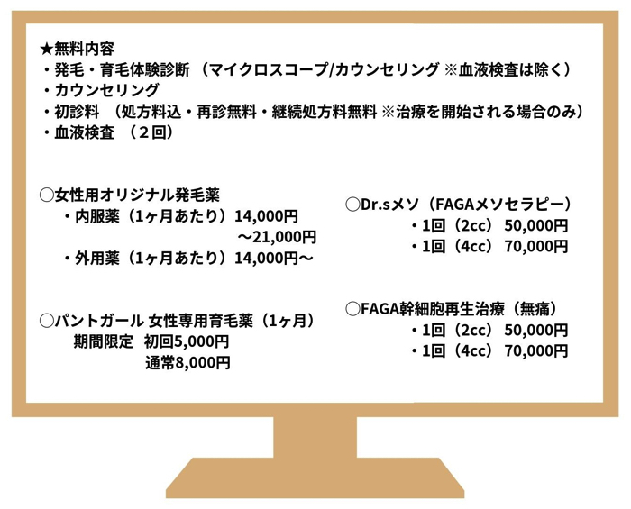 東京ビューティークリニック料金表