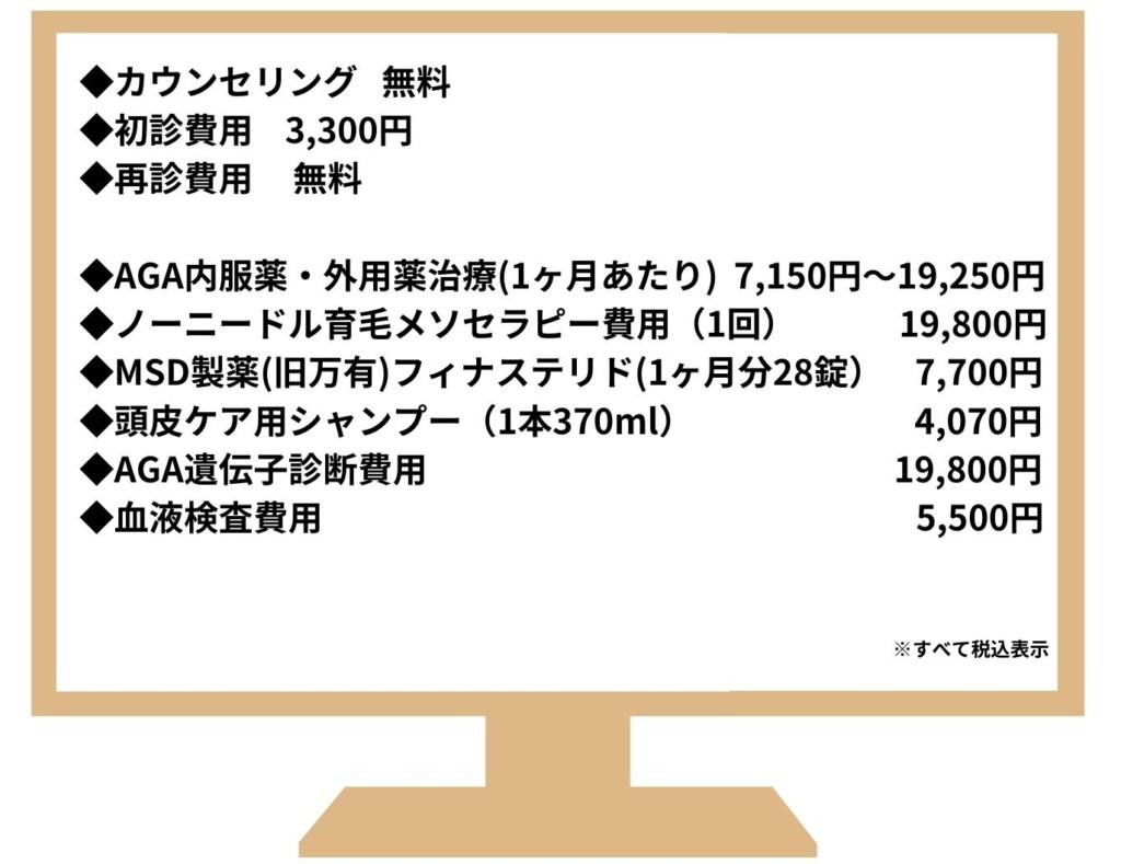 銀座総合美容クリニック料金表